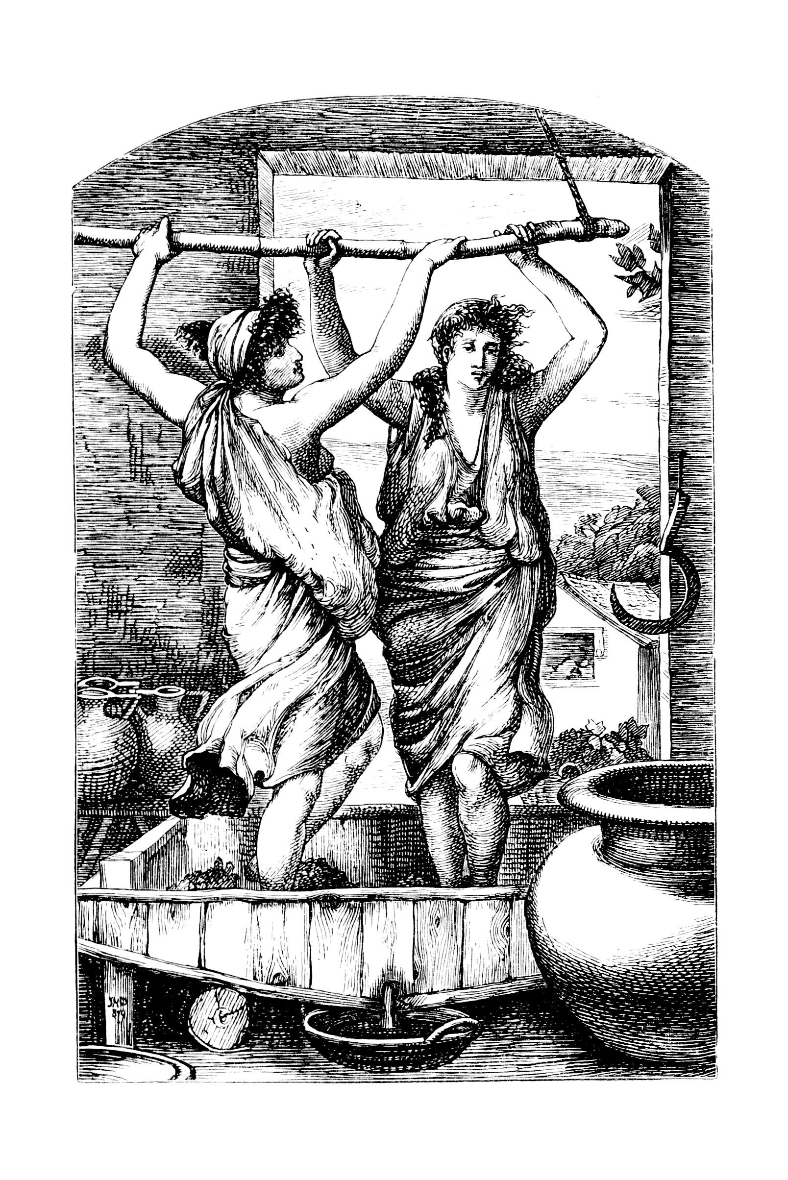 les origines du vin : écraser les raisins