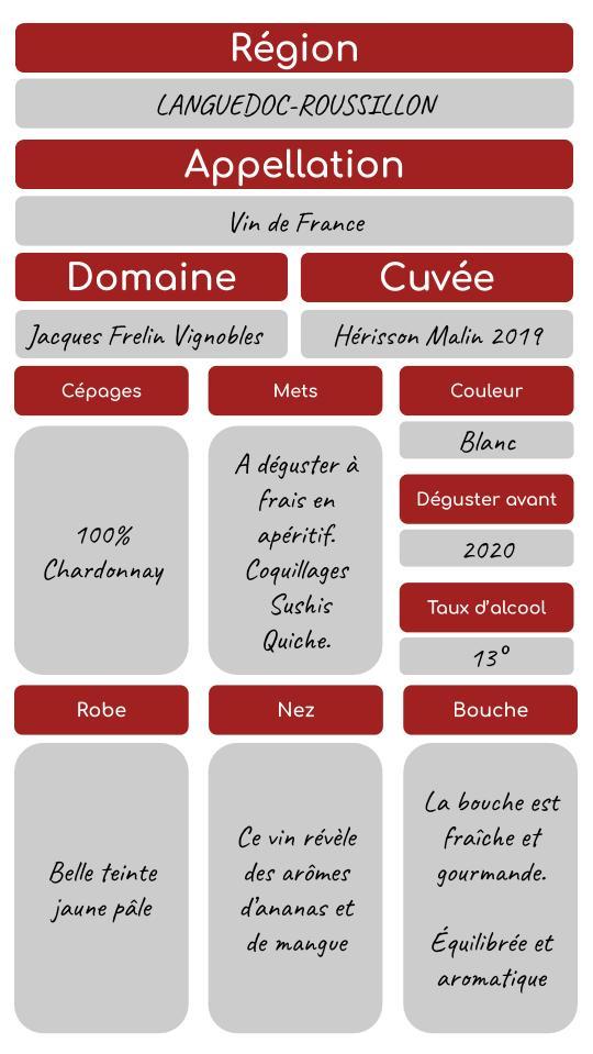 LCDJ0003  HÉRISSON MALIN 2019 - JACQUES FRELIN VIGNOBLES / Vin Blanc Bio / Languedoc Roussillon